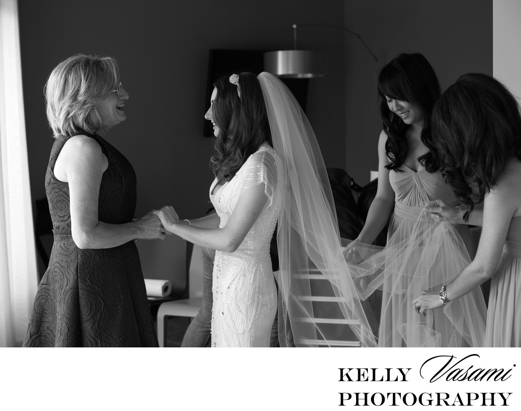 Bride with Bridesmaids & Mother | Roundhouse at Beacon