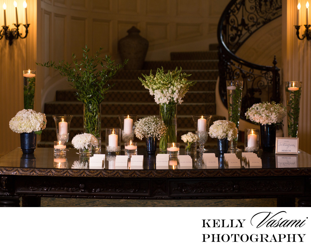 sleepy hollow country club escort card flower table