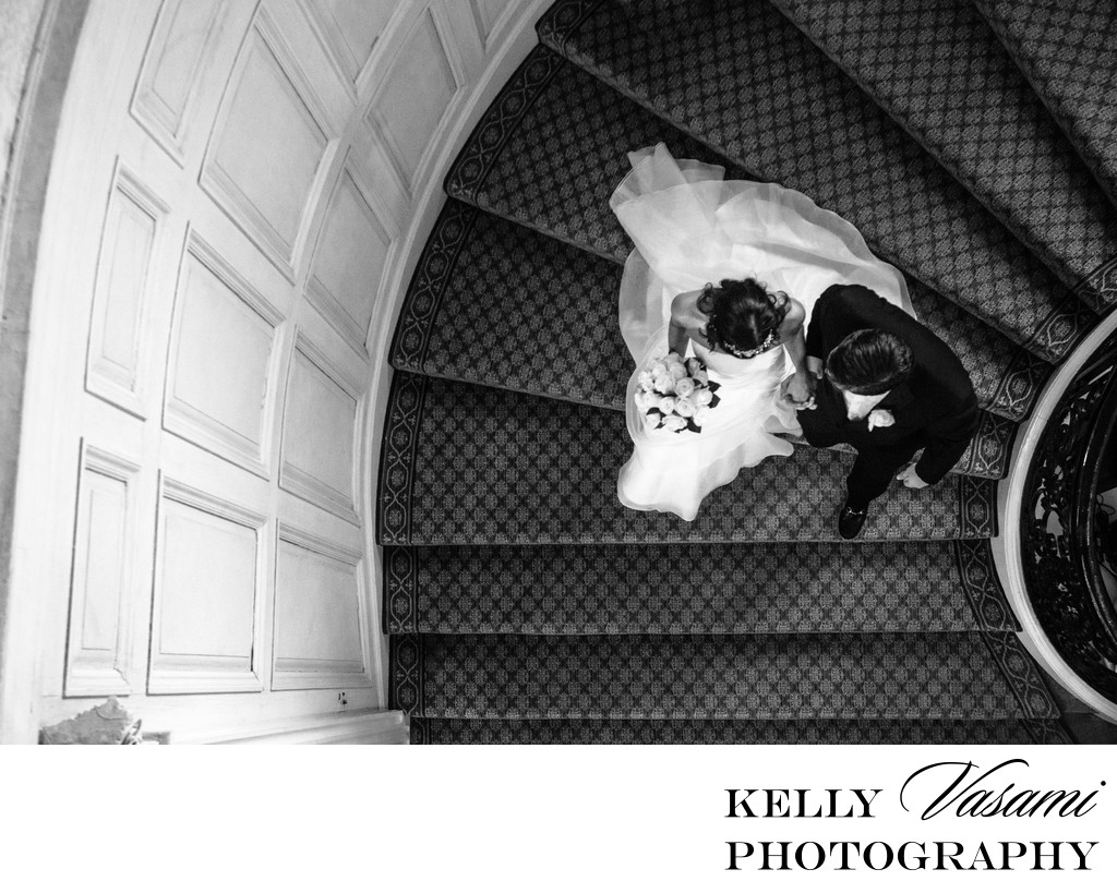 Bride & Groom | Staircase Sleepy Hollow Country Club