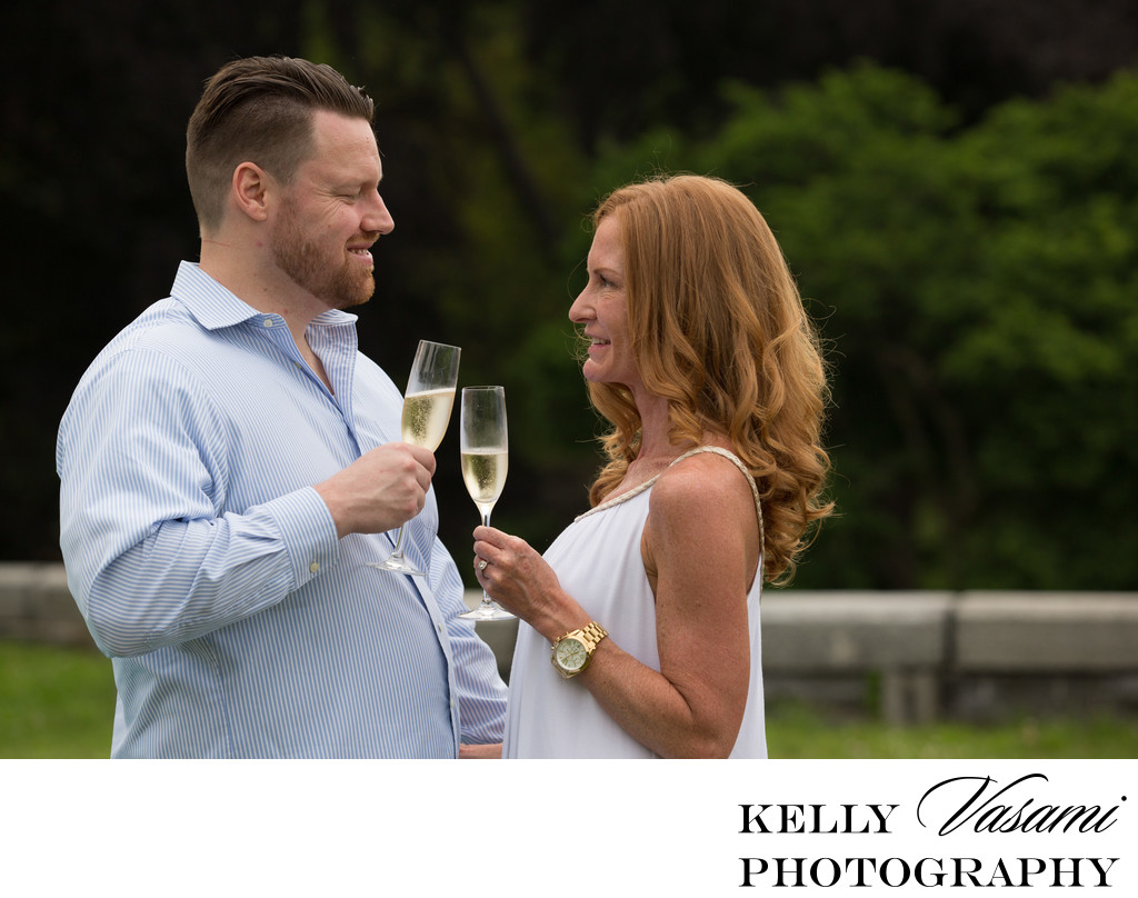 Cheers! Engagement session with champagne glasses