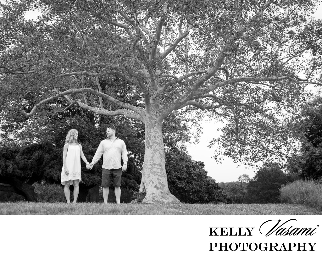 Couple poses under huge tree | Tarrytown Engagement