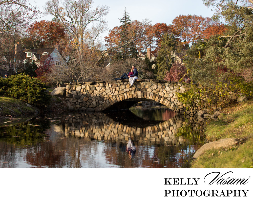 Binney Park stone bridge engagement session
