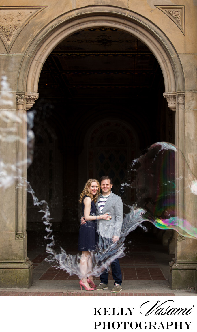 Dramatic Engagement Bubble Photo in Central Park