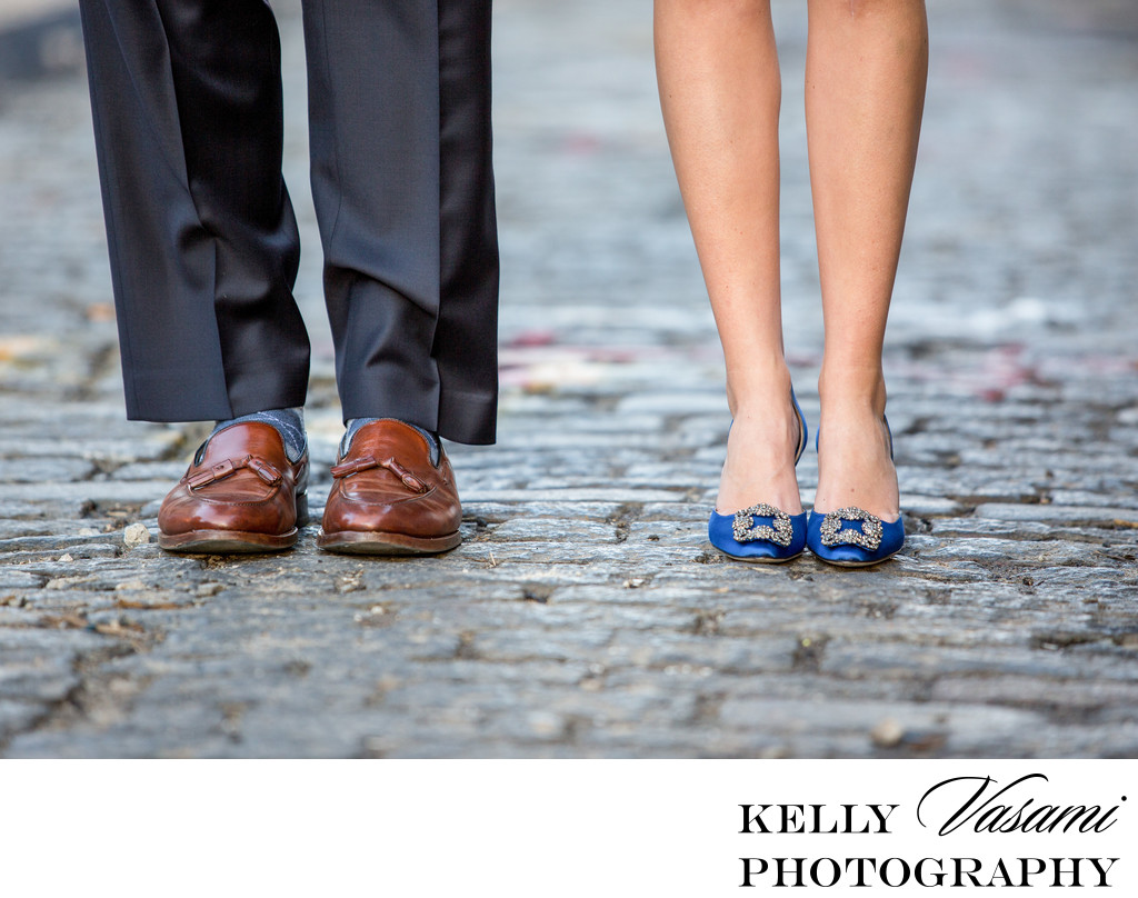 Cobblestone Streets of NYC | Closeup of Brides Shoes