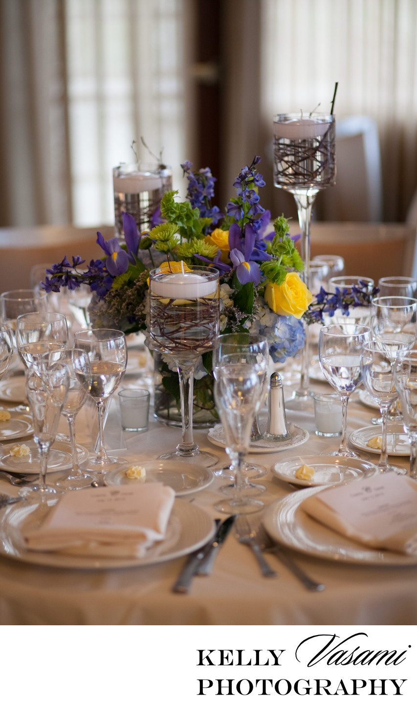 Purple and Yellow Centerpiece | Whippoorwill Wedding