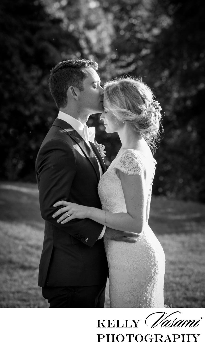 Black & White Intimate Moment Between Bride and Groom