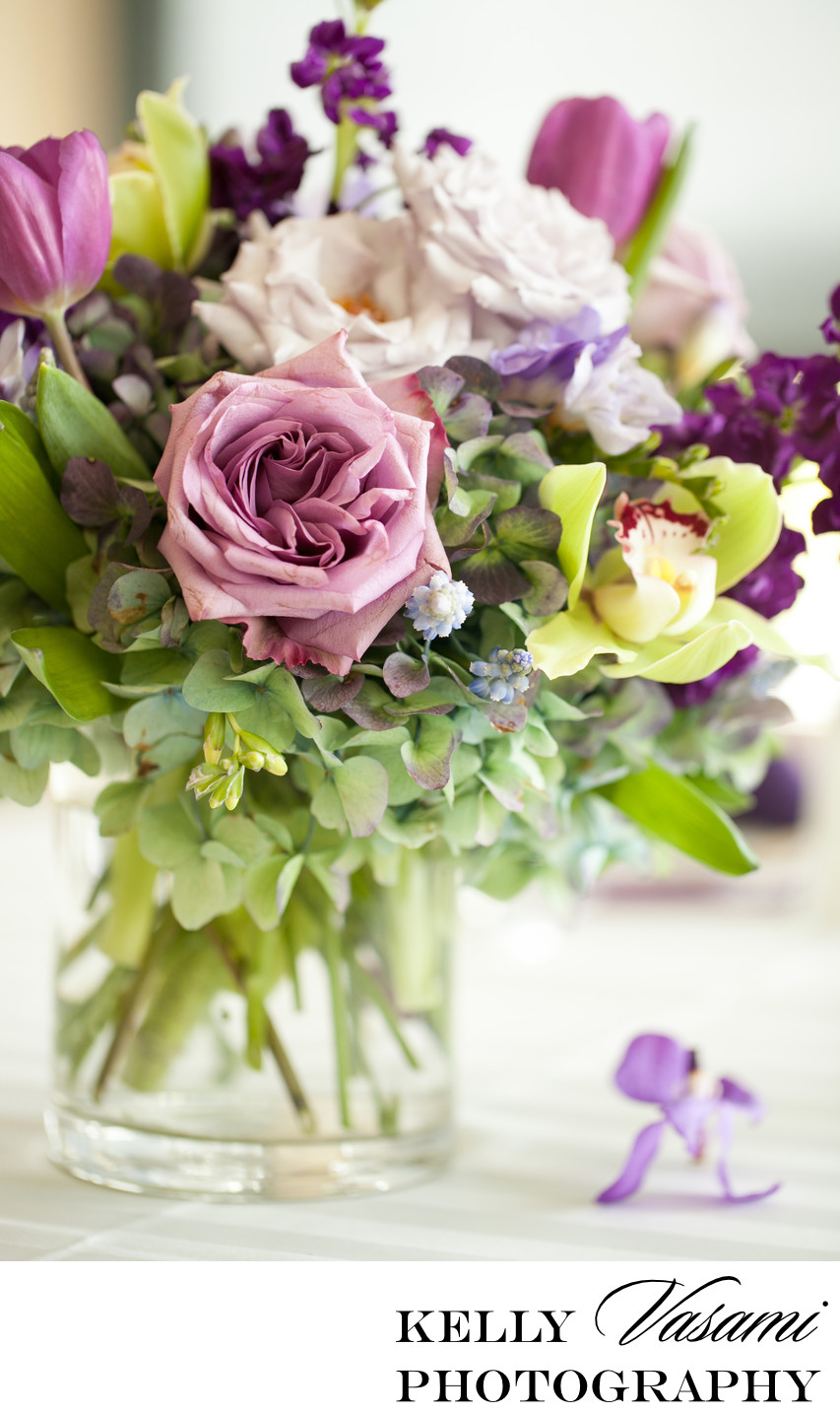 purple roses green hydrangea orchid tulips