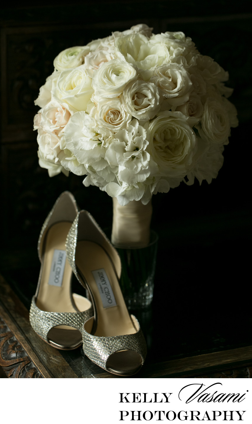 jimmy choo shoes and white wedding flowers