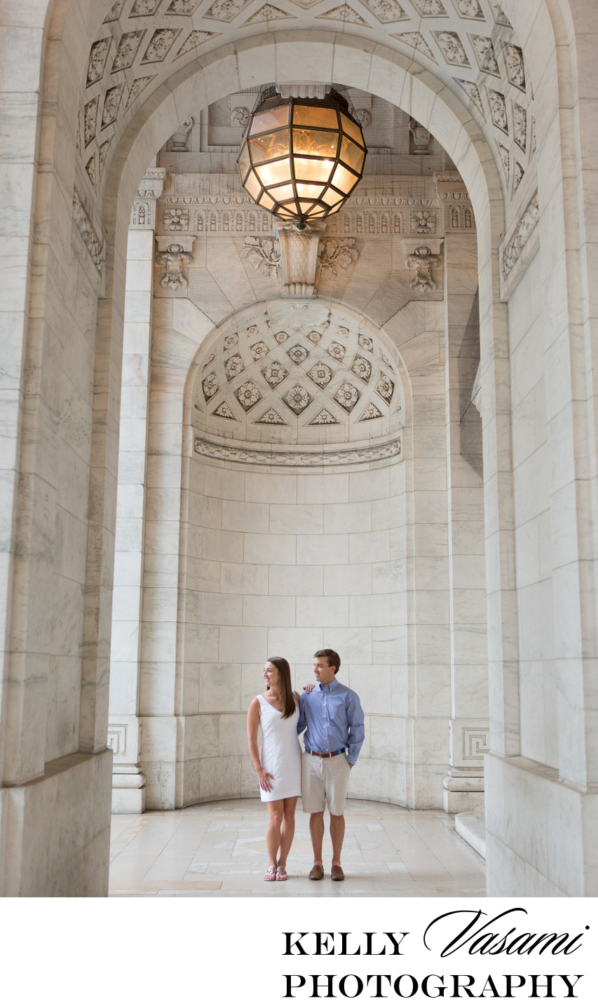 NY Public Library is this couple's dramatic backdrop