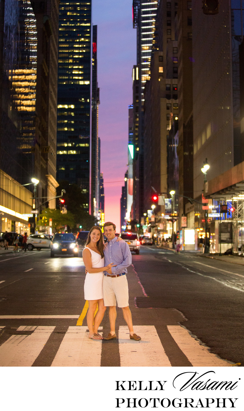 Engagement session on NYC streets at night