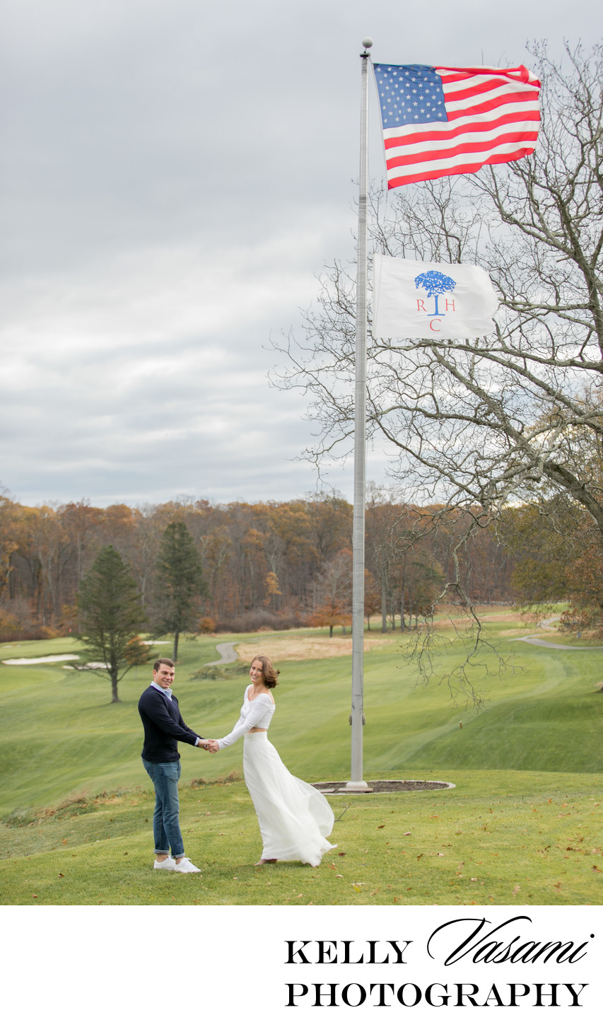 Windy Golf Course Engagement Photos in Greenwich