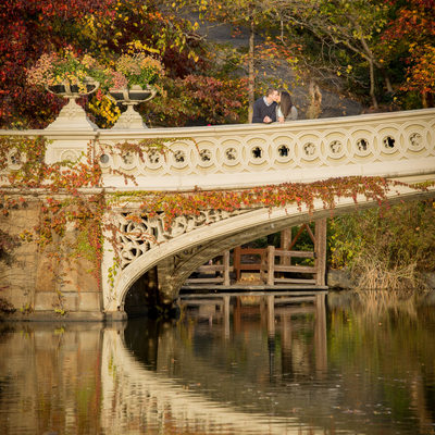 Central Park Bow Bridge Engagement Session in Autumn