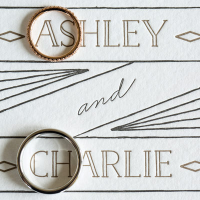 vintage letterpress wedding invitation photo with rings
