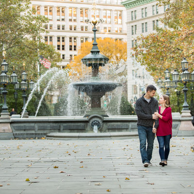 Fountain in NYC for engagement session