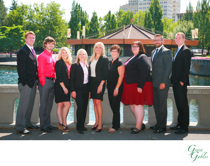 Group photo of staff, outdoor downtown Spokane