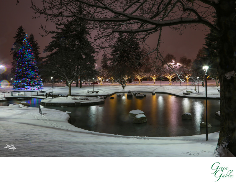 Night photo of Avista Corp duck pond in winter