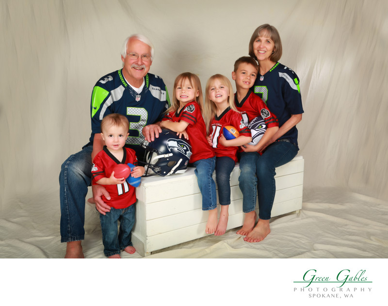 Grandparents and grandkids, football fanatics
