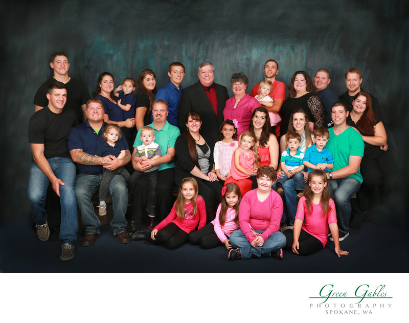 large family group in studio