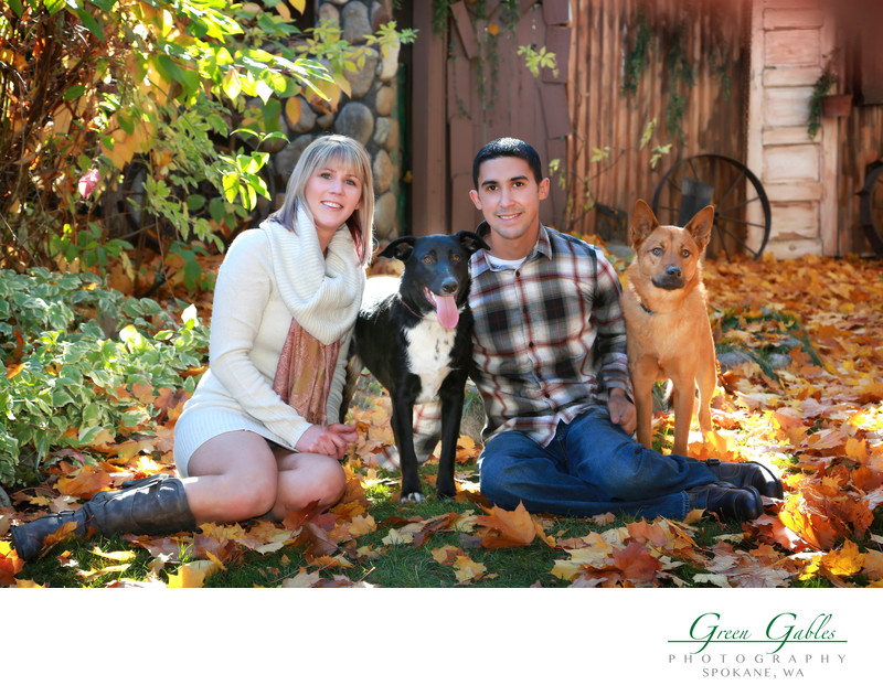 couple and their dogs, location portraits