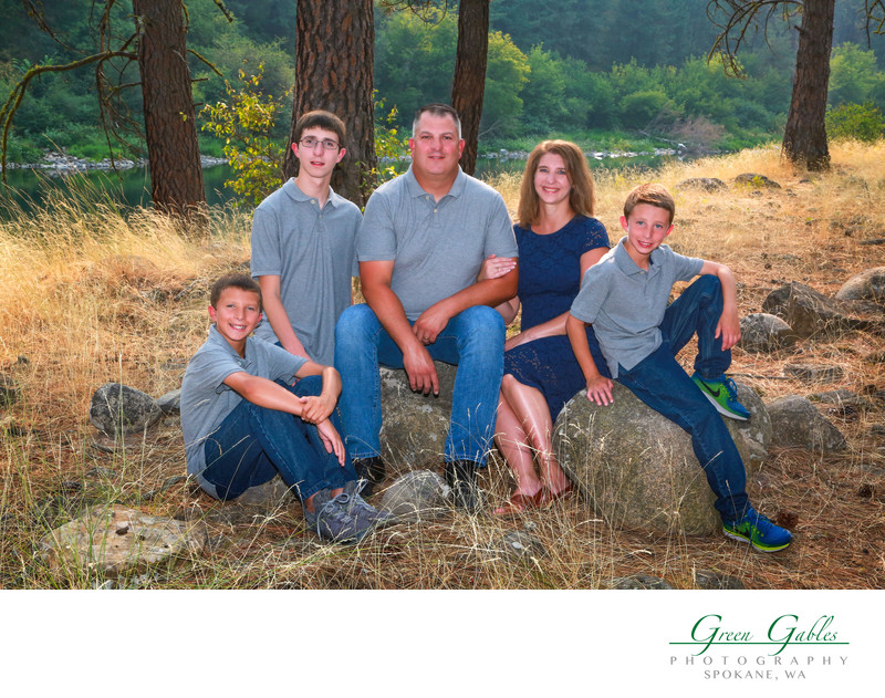 outdoor family portrait at the River