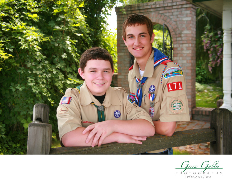 Two Eagle Scouts, cousin, outdoors