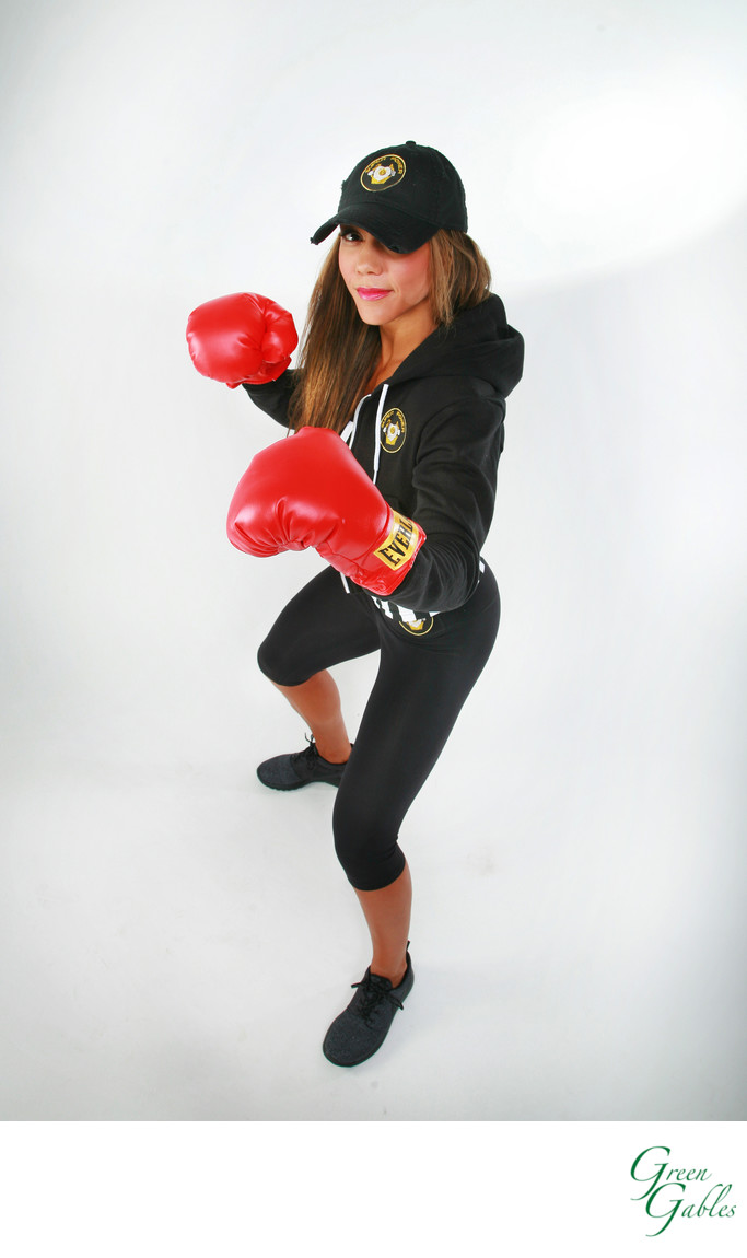Boxing glove ad, women model