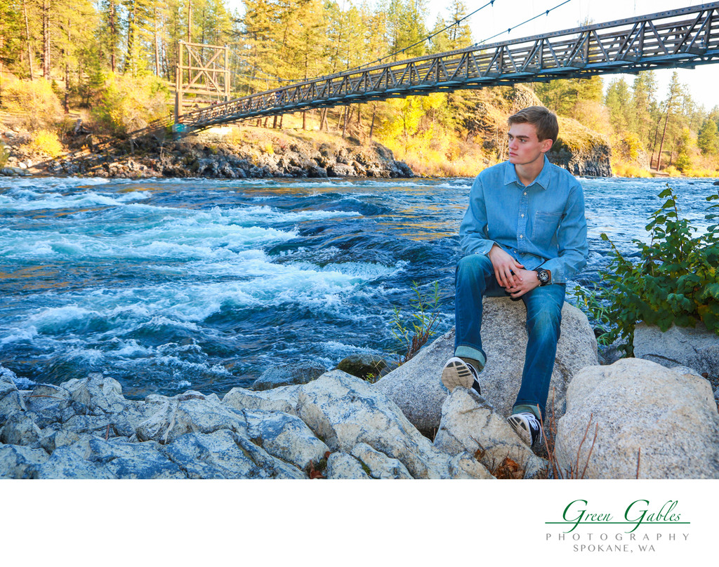 Senior portrait boy at Spokane River