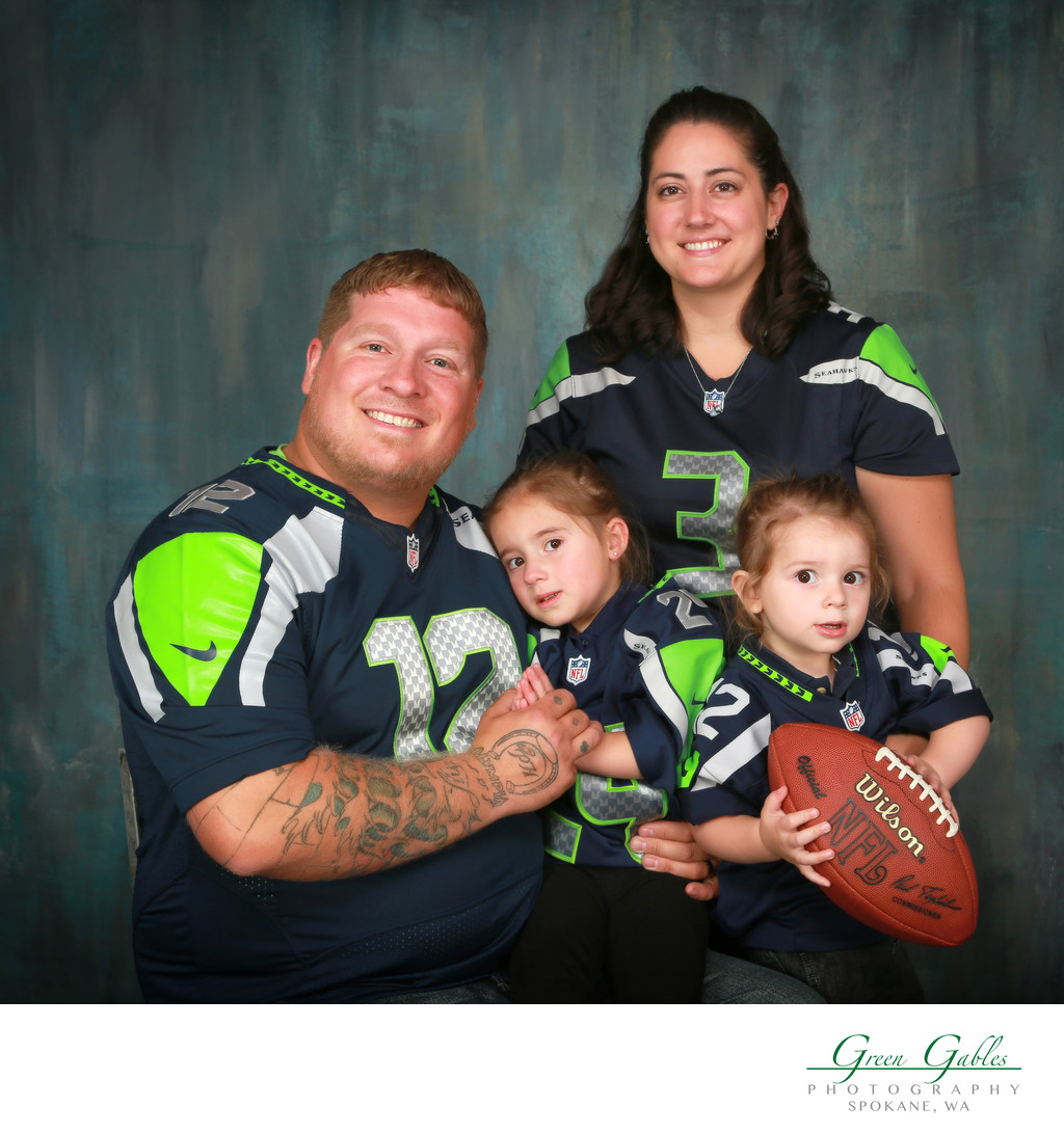 Sea Hawks football theme family portrait