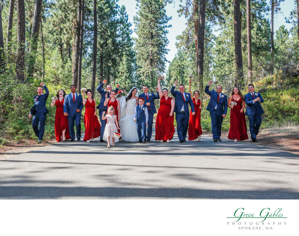 wedding party in valley park