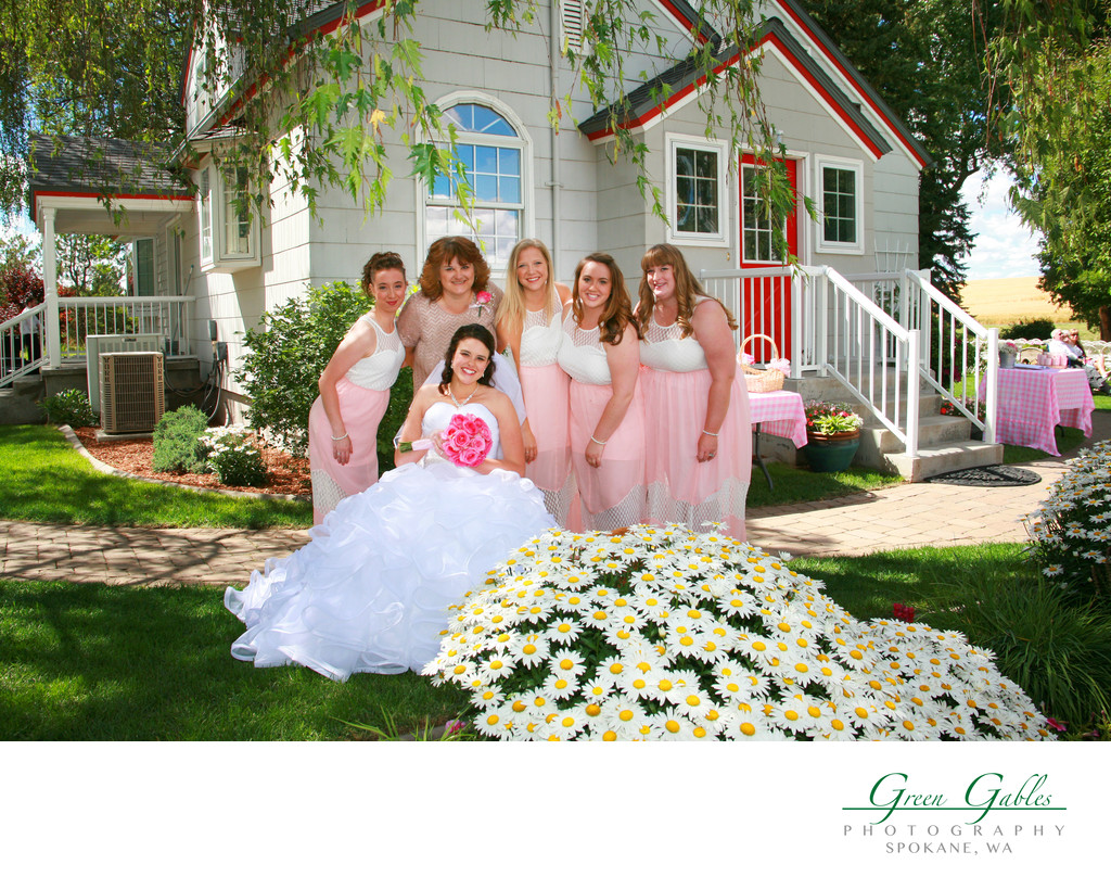 bridesmaids with bride on location
