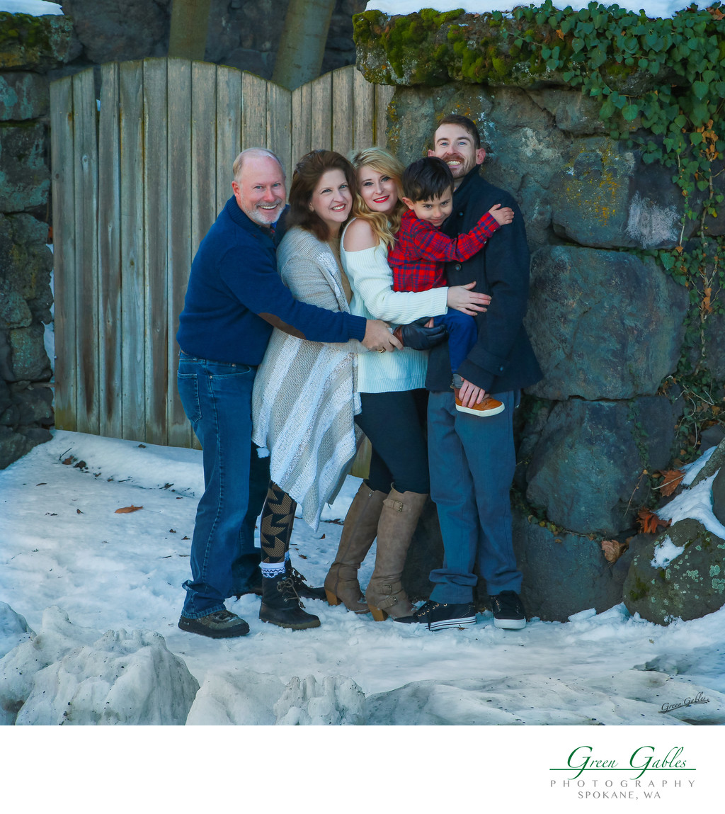 fun family portrait in the snow