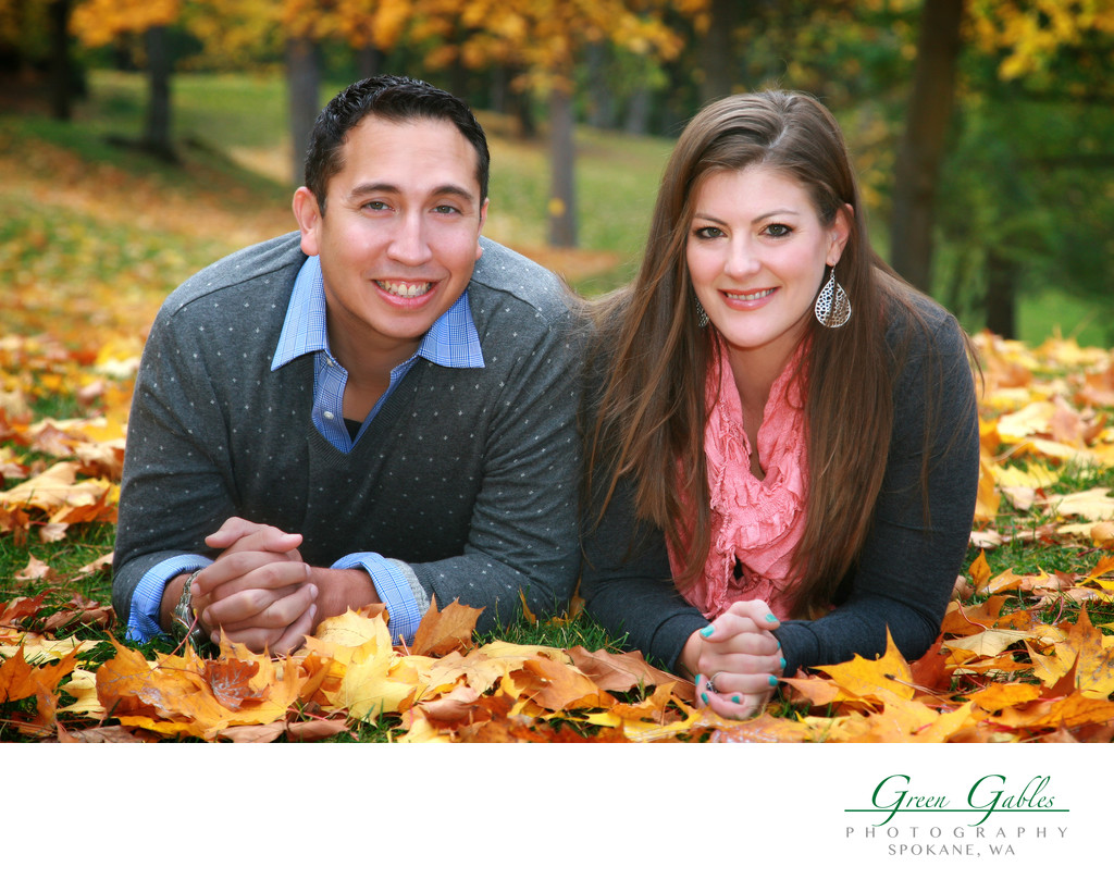 couple at park casual in the leafs