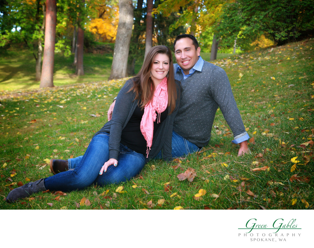 young couples portrait in the park