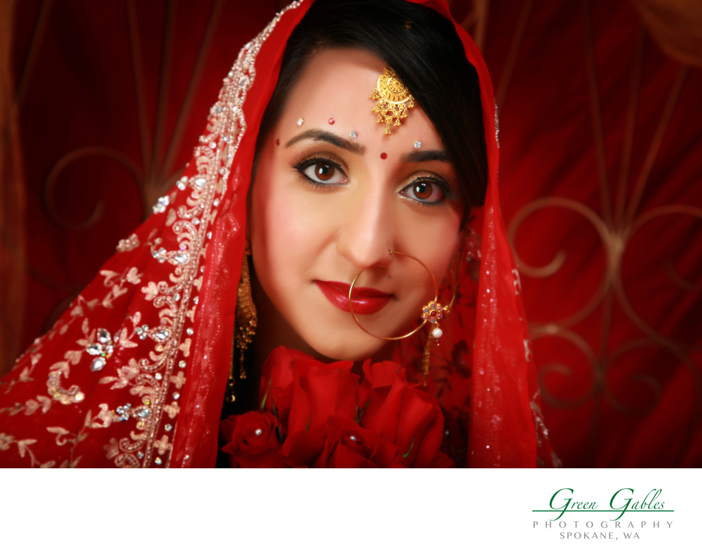 closeup of ethnic bride at our studio