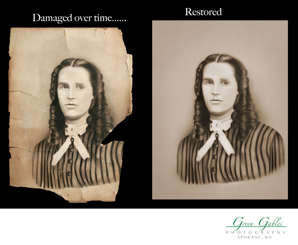 damaged original and restored final image