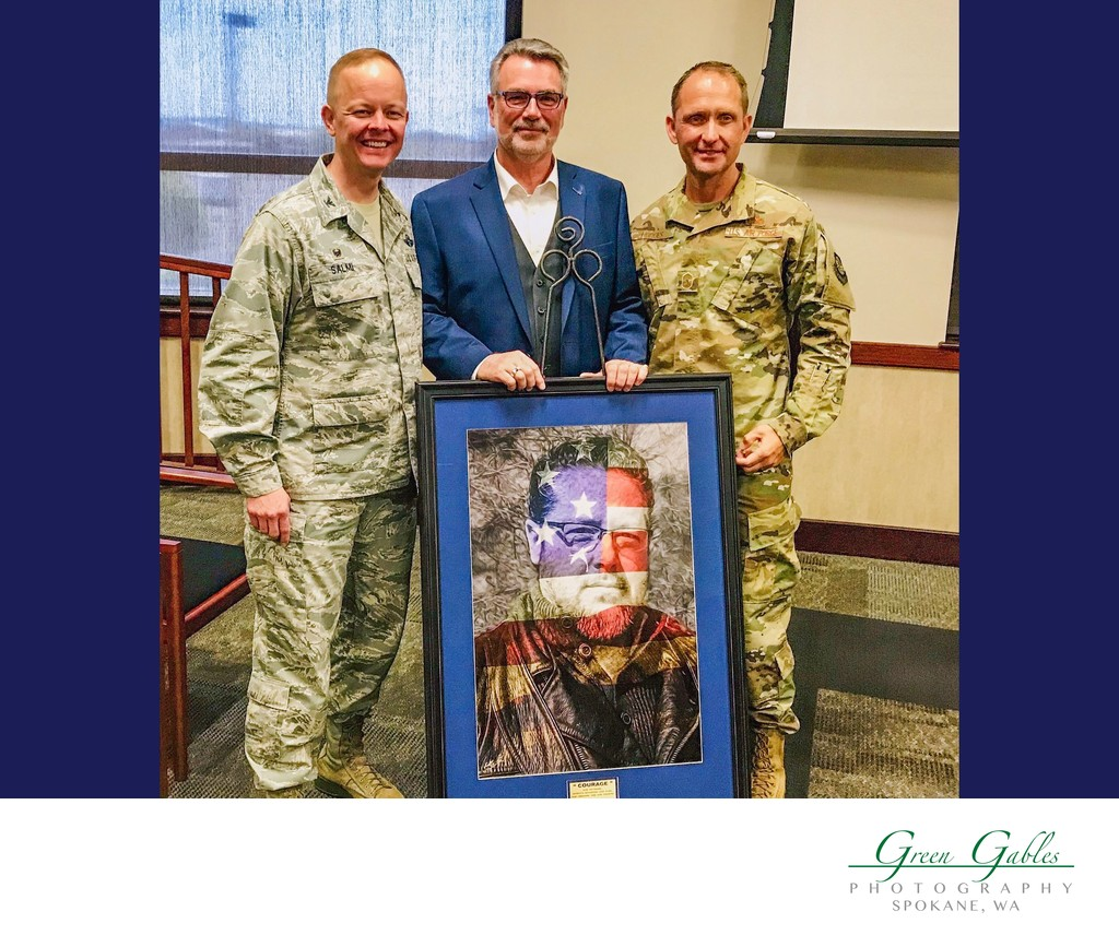 The COURAGE Art Print donated to Fairchild AFB