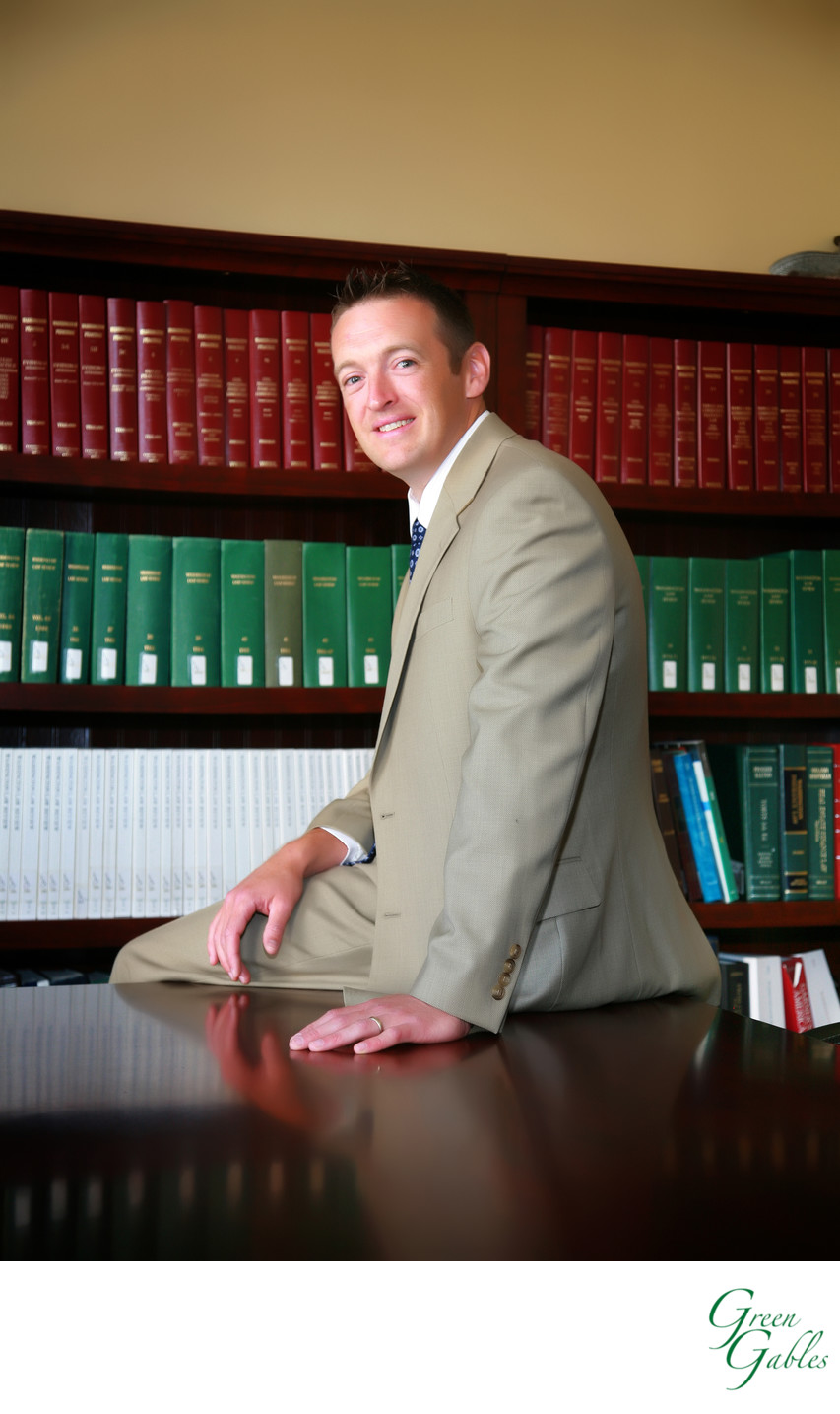 Male attorney in office