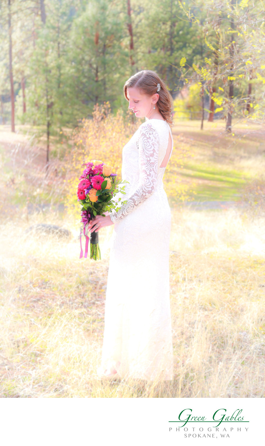 bride in woods at Riverside Sate Park