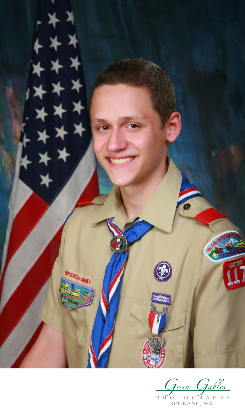 Eagle Scout in studio portrait