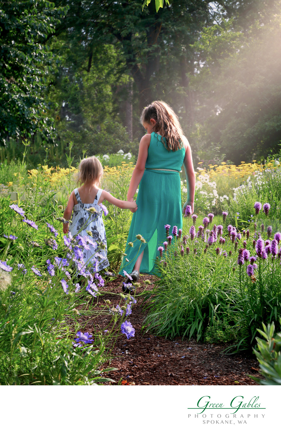 two sisters, a walk in grandmas garden