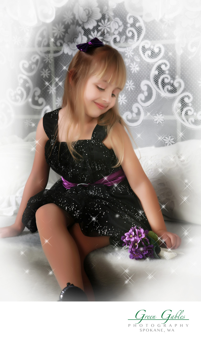 sparkles and stars, soft moment of little girl in window seat
