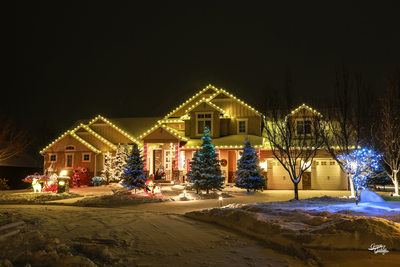 Senske Christmas Lighting, night photography, Spokane