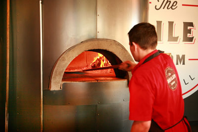 Pizza oven at the Boiler Room Bistro