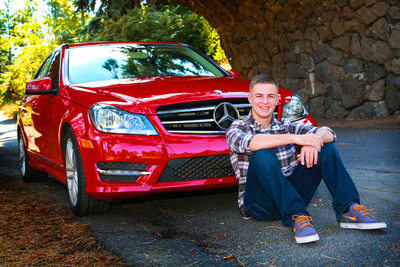 Senior portrait with car on location