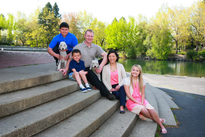 Riverfront Park and a family with pets