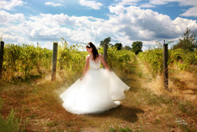 twirling bride in vineyard