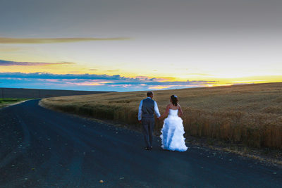 a walk down the road, destination wedding