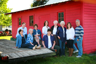 location family portrait by the barn