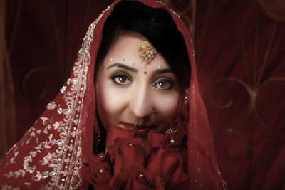 ethnic studio wedding portrait