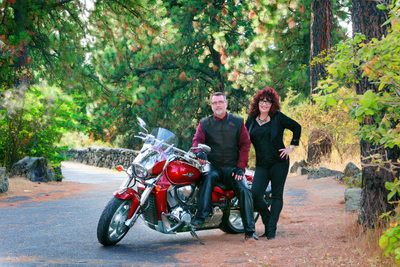couples portrait on location with motorcycle